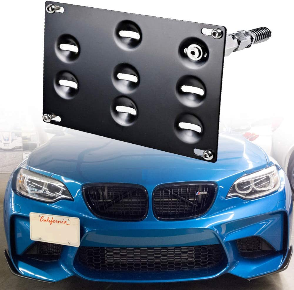 14-19 Mini Cooper F55 F56 Bumper No Drill Frame Mount Holder SIZZLEAUTO Front Tow Hook License Plate Relocator Bracket for BMW 12-18 3-Series F30 11-18 5-Series F10 G30 14-18 4-Series F32 F33 F36