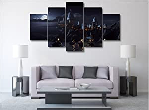 5 Pieces Harry Potter School Castle Wall Art Picture Home Decoration Living Room Canvas Print Wall Picture Printing On Canvas