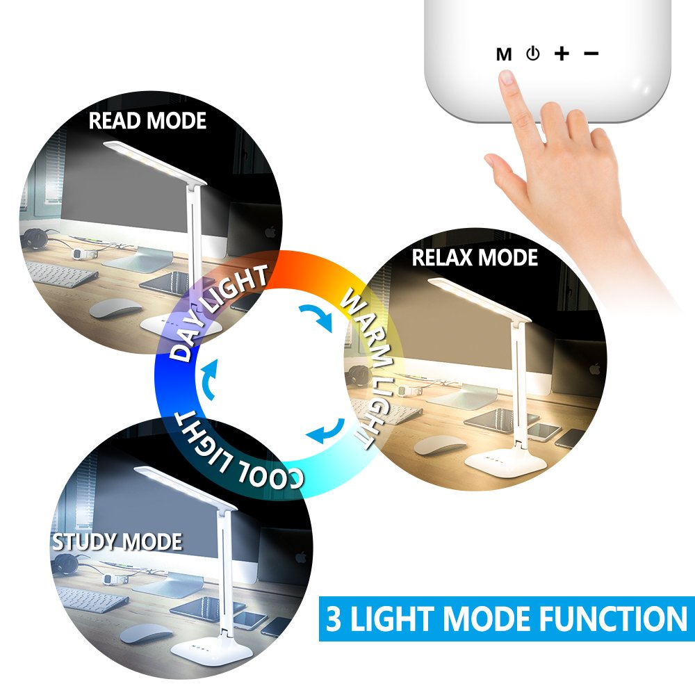 LED Desk Lamp, Lovin Product Dimmable Energy Efficient Table Lamps, Touch - Control/ 5-Level Dimmer/ 3 Color Modes; Foldable Eye-Caring Book Light for Reading (White) by LOVIN PRODUCT (Image #2)
