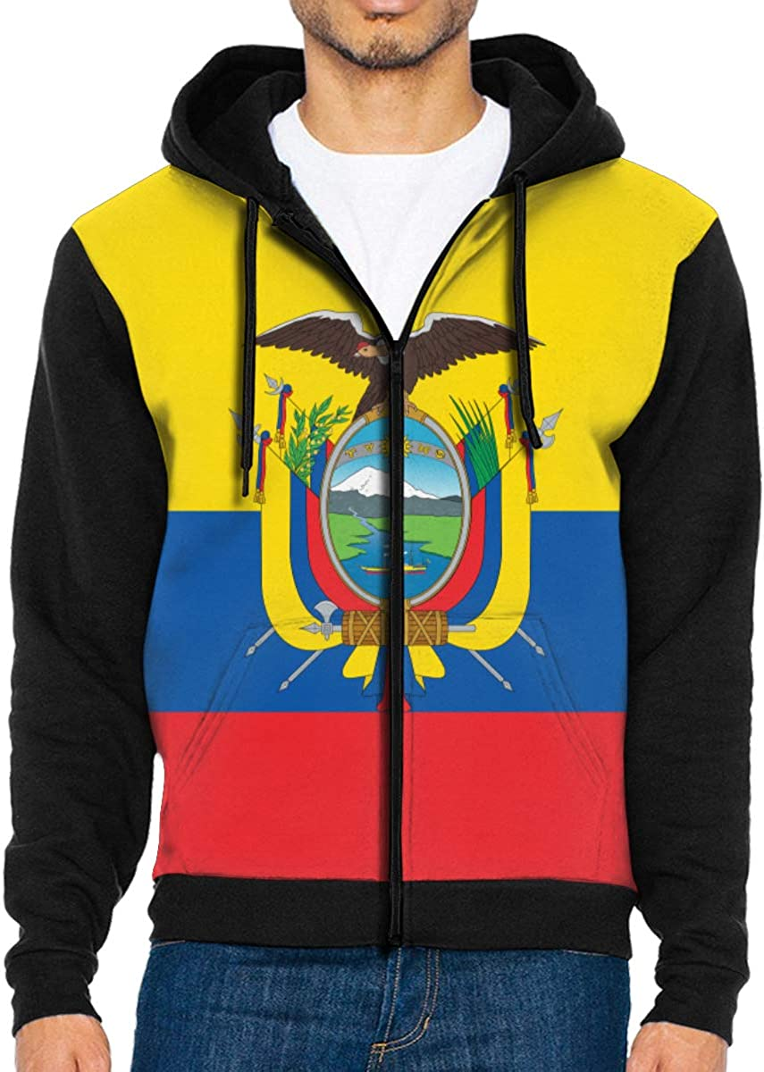 LD6DBGK Ecuadorian Flag Mens Full Zip Hoodie Sweatshirt Coat