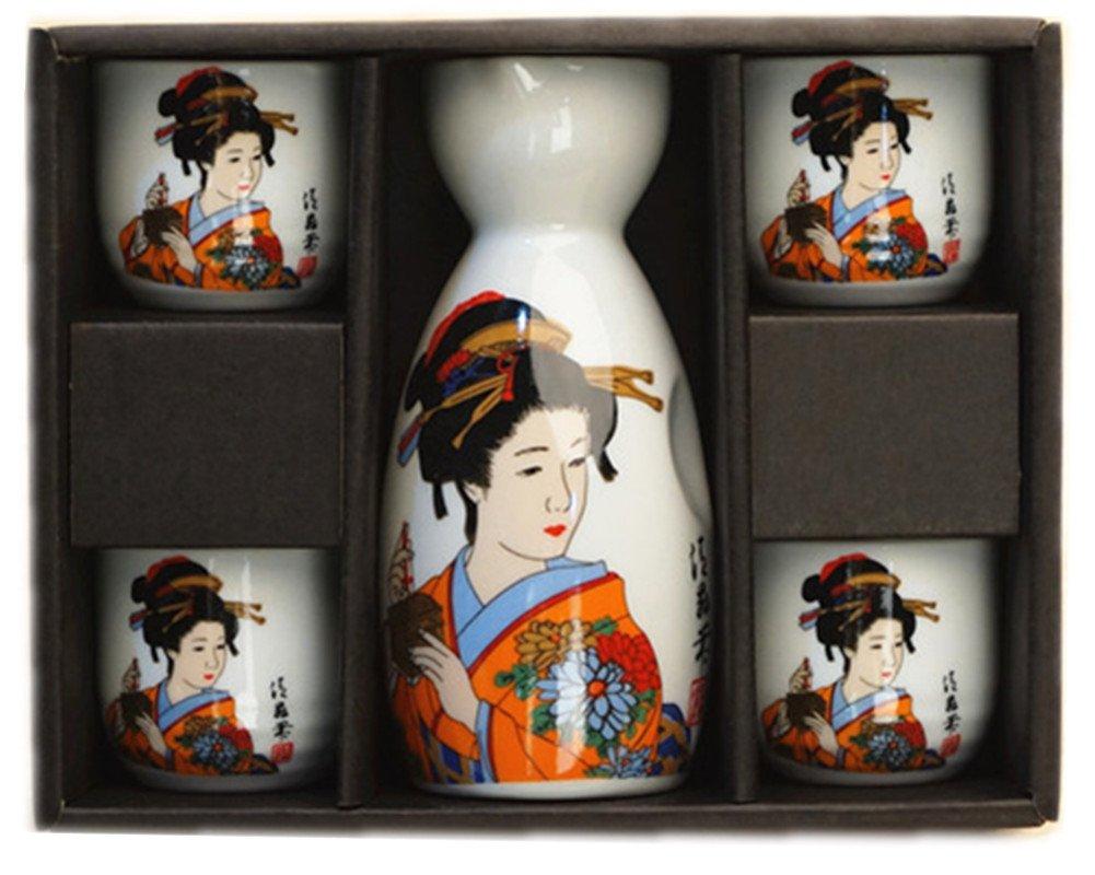Moyishi Japanese Cherry Blossom Ceramic Sake Set Cherry Blossom Best Gift (Cherry) JCUP01
