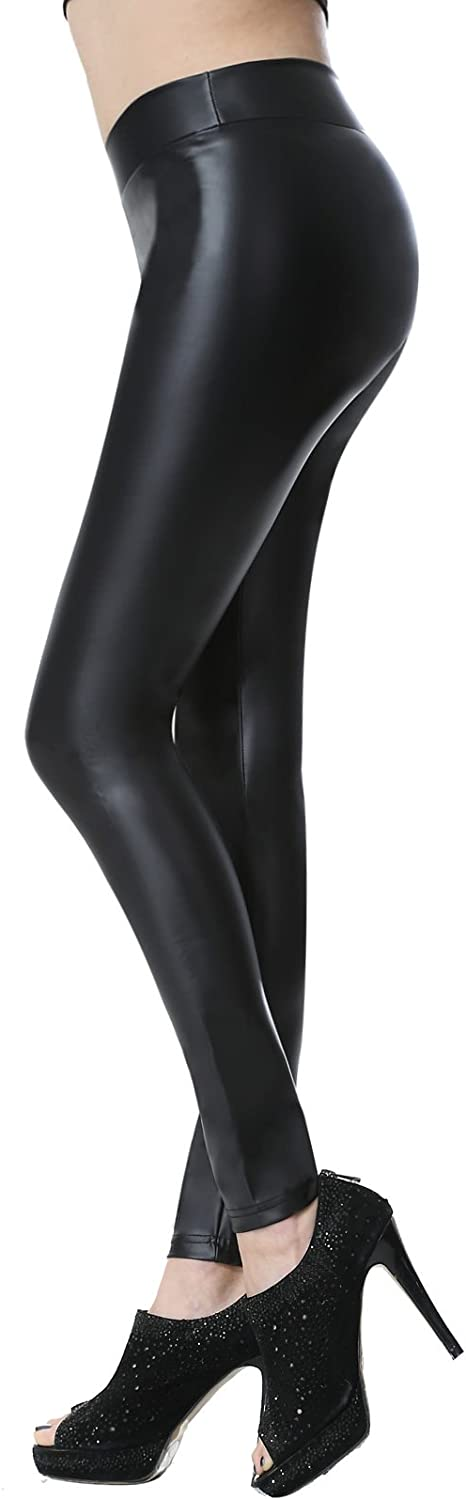Everbellus Leggins Cuero Pantalón Elástico Negro para Mujer