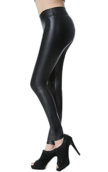 aa26d7a0a8 Everbellus Sexy Black Faux Leather Leggings for Women Fashion Pants Black  Small