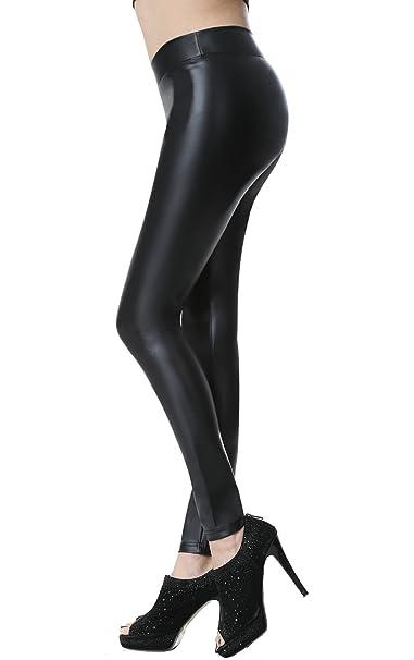 cfdc6d5a0ae9 Everbellus Donna Pu Leggings Pelle Elastico Skinny Pantaloni: Amazon ...