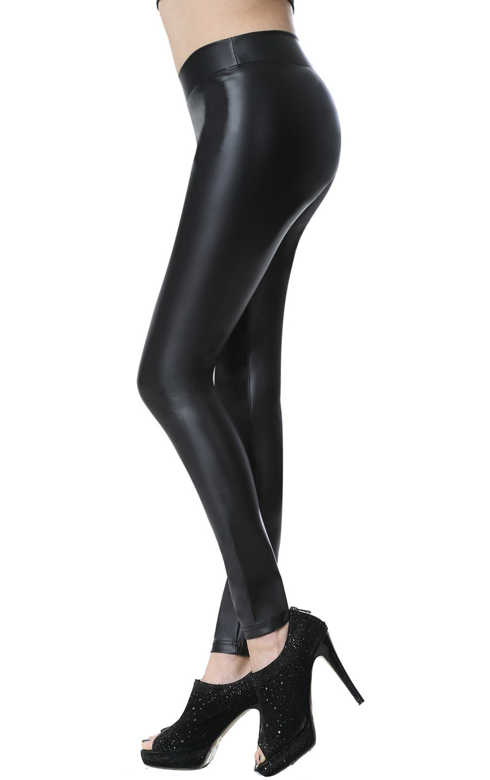 Everbellus Sexy Black Faux Leather Leggings for Women Fashion Pants Black Small