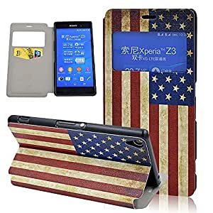 Seedan View Window Design US Flag Painting Flip Leather Wallet Case for Sony Xperia Z3 Magnetic Clasp Stand Cover Slim Style Pouch Skin Super Light