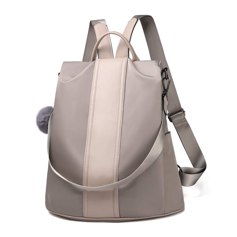 Women Backpack Purse Waterproof Nylon Anti-theft Rucksack Lightweight School Shoulder Bag (Khaki Large)