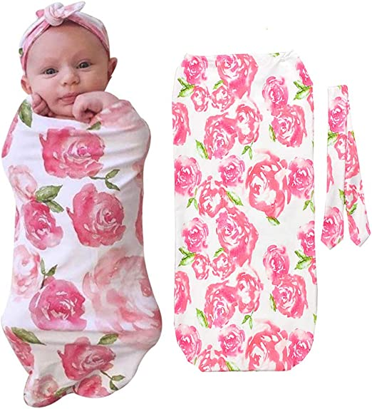 Swaddle Wrap Blanket Sleeping Bag for Newborn baby shower GIFT  In Garden Pink