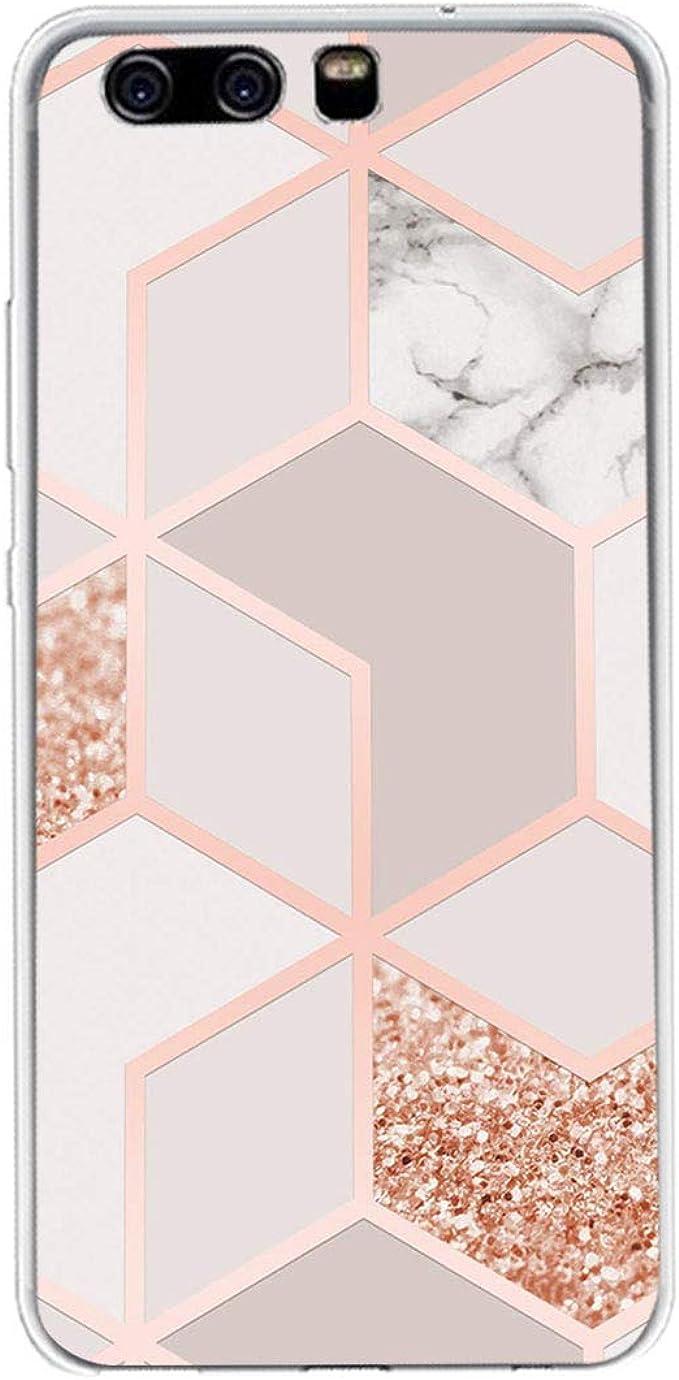 ruiyoupin Custodia Compatible con Huawei P10 Lite Cover, Protettiva Guscio Trasparente Cover in TPU Antiscivolo Silicone Marmo retrò Elegante Soft ...