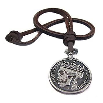 Trod men charm silver skull pendant leather necklace strand string od men charm silver skull pendant leather necklace strand string mozeypictures Gallery