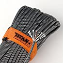 """TITAN SurvivorCord   BLACK STEEL   103 Feet   Patented Military Type III 550 Paracord / Parachute Cord (3/16"""" Diameter) with Integrated Fishing Line, Fire-Starter, and Snare Wire."""