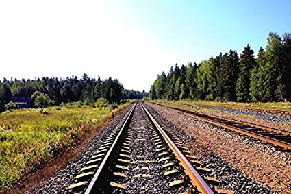 amazon com home comforts laminated poster railway rails railroad