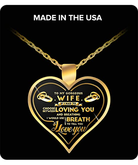 Amazon wife gifts to my gorgeous wife gold pendant necklace wife gifts to my gorgeous wife gold pendant necklace great wife gift ideas negle Choice Image