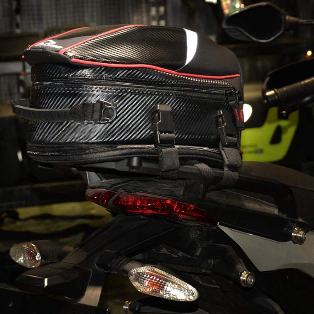 Sanmubo Stilvolle Motorrad Hecktasche 16-21L Universeller Tankrucksack Wasserdicht R/ücksitz Tasche aus PU Leder