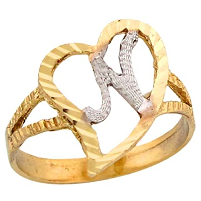 14k two tone gold fancy cursive letter n unique heart initial ring