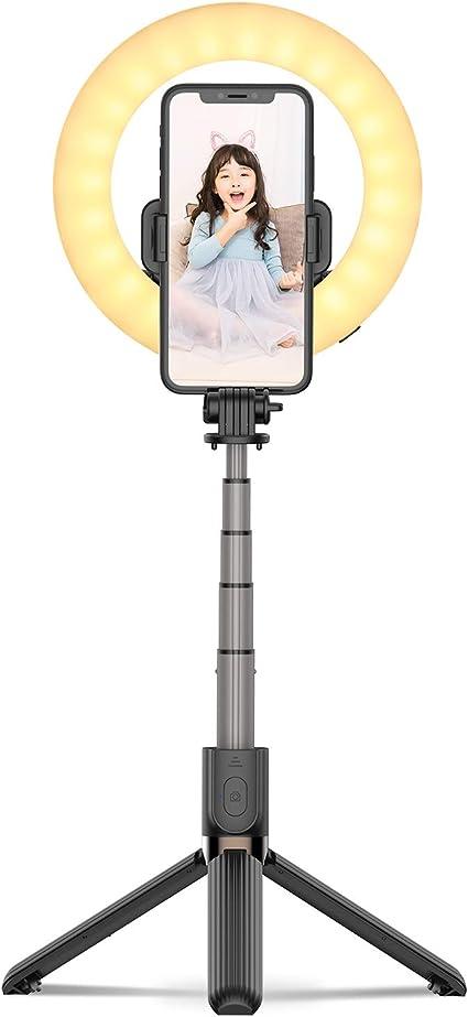 【最新版一体式】リングライト 自撮り棒 自撮りライト USB充電 1200mAh 長時間持続 撮影用 LEDリングライト 折り畳み式 組立て不要 収納省スペース 携帯便利 照明 高輝度 三色モード 卓上三脚スタンド Youtubeビデオ/自撮り/美容化粧/映画鑑賞に適用