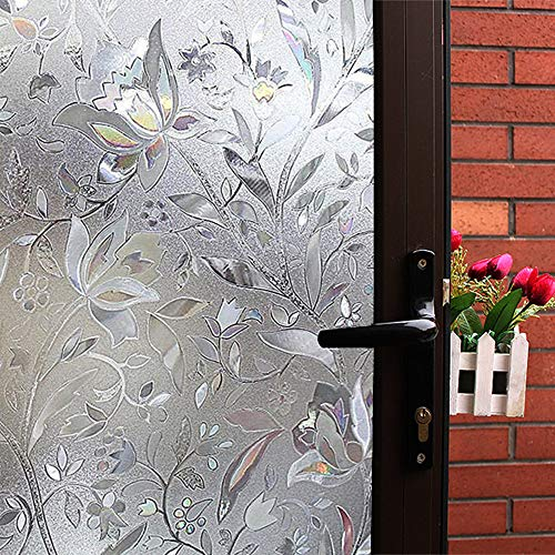Mikomer Tulip Decorative Window Film,No Glue Frosted Privacy Film,Stained Glass Door Film,Reflective Static Cling Heat Control Anti UV Window Decoration for Home and Office,17.5 inches by 78.7 inches]()
