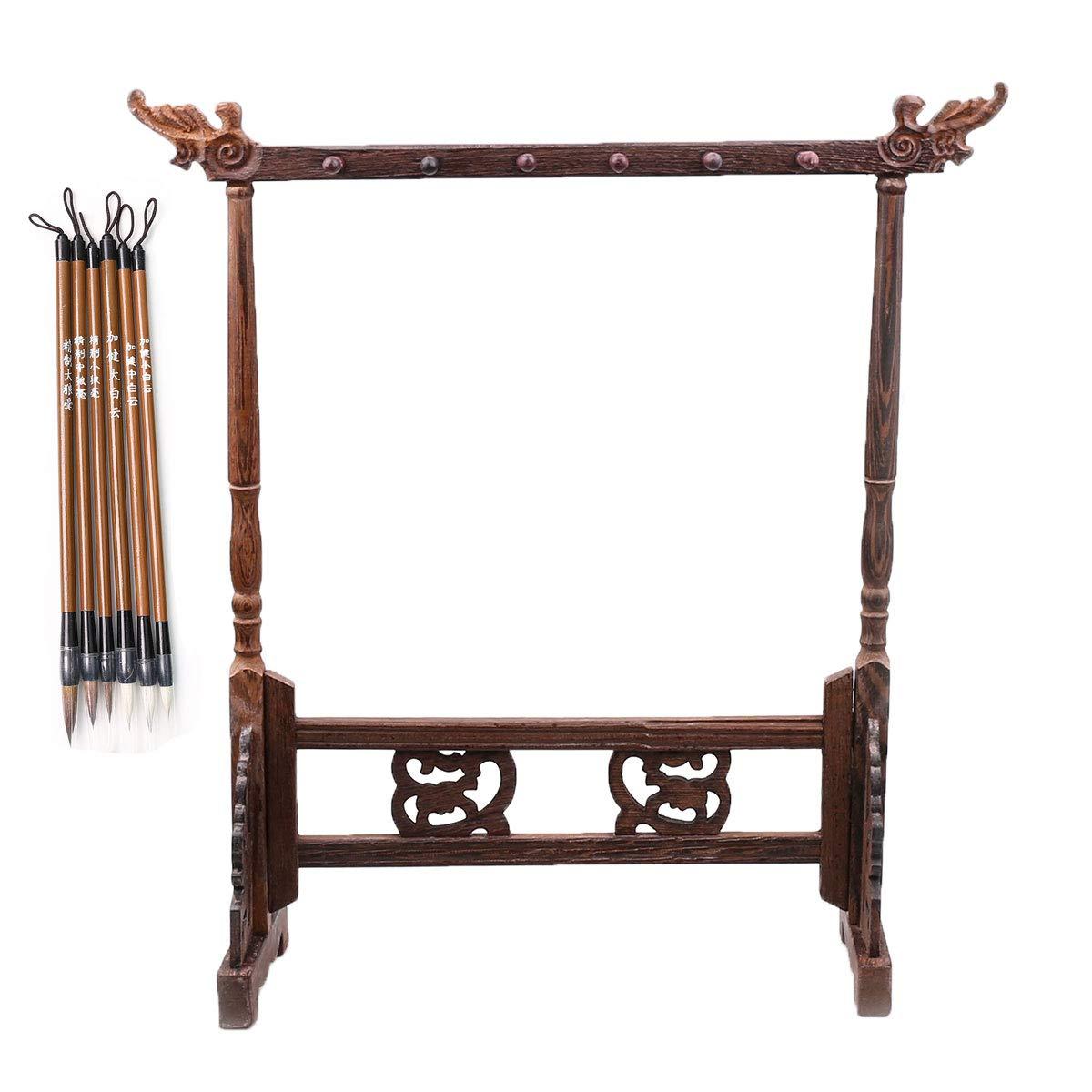 Father's Day Gift,12-pin wenge Brush Holder/Wood Penholder Pen Hanging/Calligraphy / Rosewood 12 Pin Calligraphy Sumi Drawing Kanji Brush Pen Hanger by Qiaoya