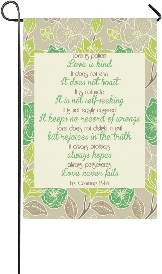 "Love is patient, love is kind. Polyester Garden Flag Outdoor Banner 12"" x 18"""