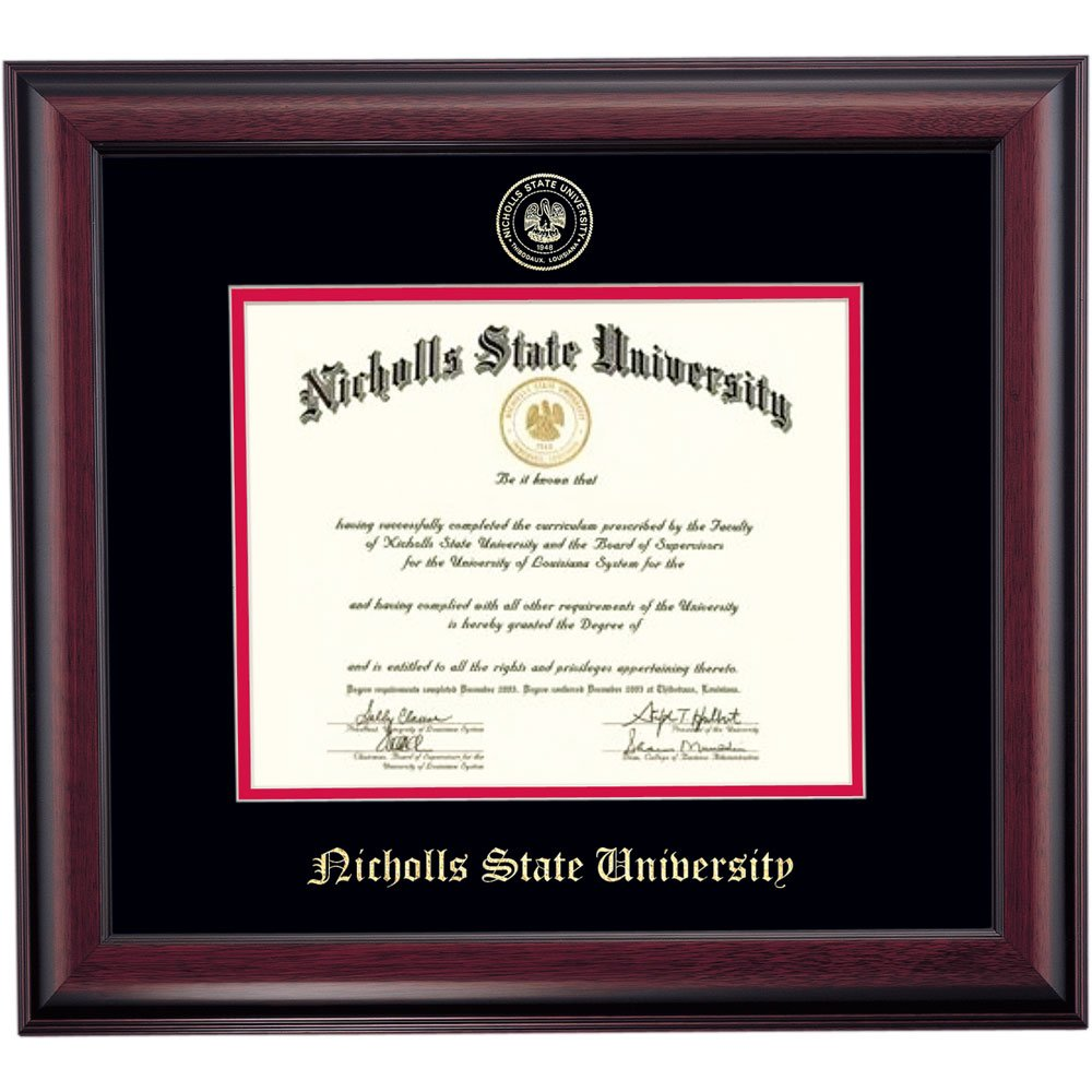 Campus Linens Nicholls State Colonels Diploma Frame Black Red Matting Embossed Seal