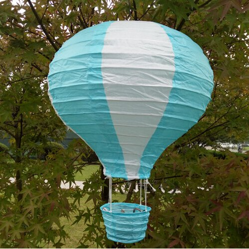 Joinwin 12 Inch Hanging Wedding Rainbow Hot Air Balloon Paper Lantern Party Decorations, Pack of 5 Pieces (White + Sky Blue) Blue Hot Air Balloon