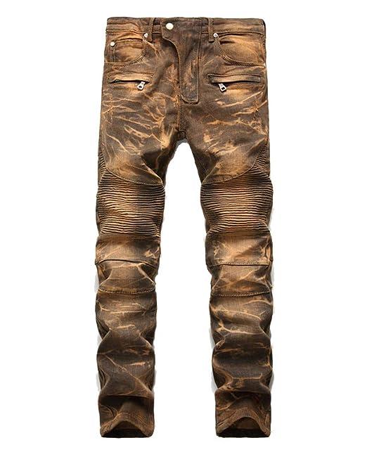 Pantalones Vaqueros Hombre Rotos Biker Jeans Slim Fit Ajustados Elásticos