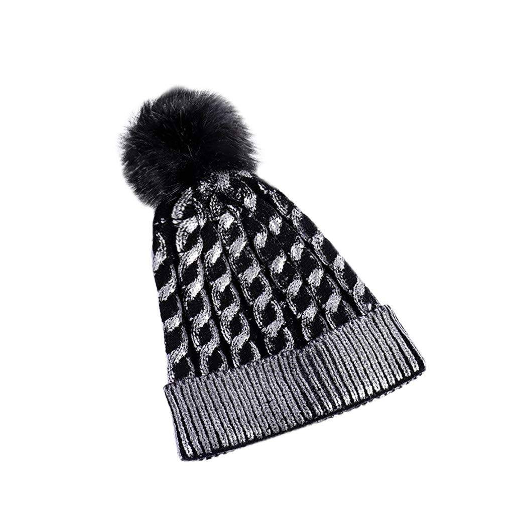 Cinhent Hat Womens Fashion Keep Warm Winter Knitted Wool Hemming Hood Stretchy