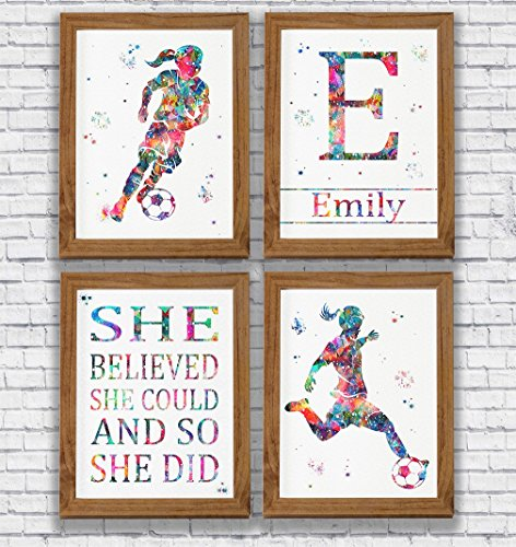 Personalised Soccer Player Girl Watercolor Print Set Sports Wall Decor Girl's Room Artworks Kid's Room Decor Wall Art Home Decor Soccer Player Gift