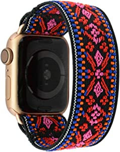 Tefeca Red Embroidery Ethnic Pattern Elastic Compatible/Replacement Band for Apple Watch 38mm/40mm (Gold Adapter, S fits Wrist Size : 6.0-6.5 inch)
