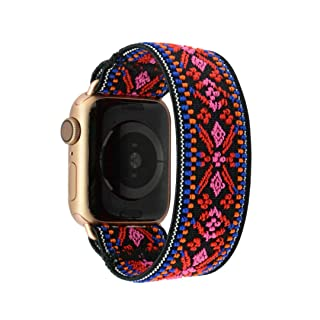 Tefeca Red Embroidery Ethnic Pattern Elastic Compatible/Replacement Band for Apple Watch 38mm/40mm (Gold Adapter for 38mm/40mm Apple Watch, Wrist Size : 6.0-6.4 inch (L2))