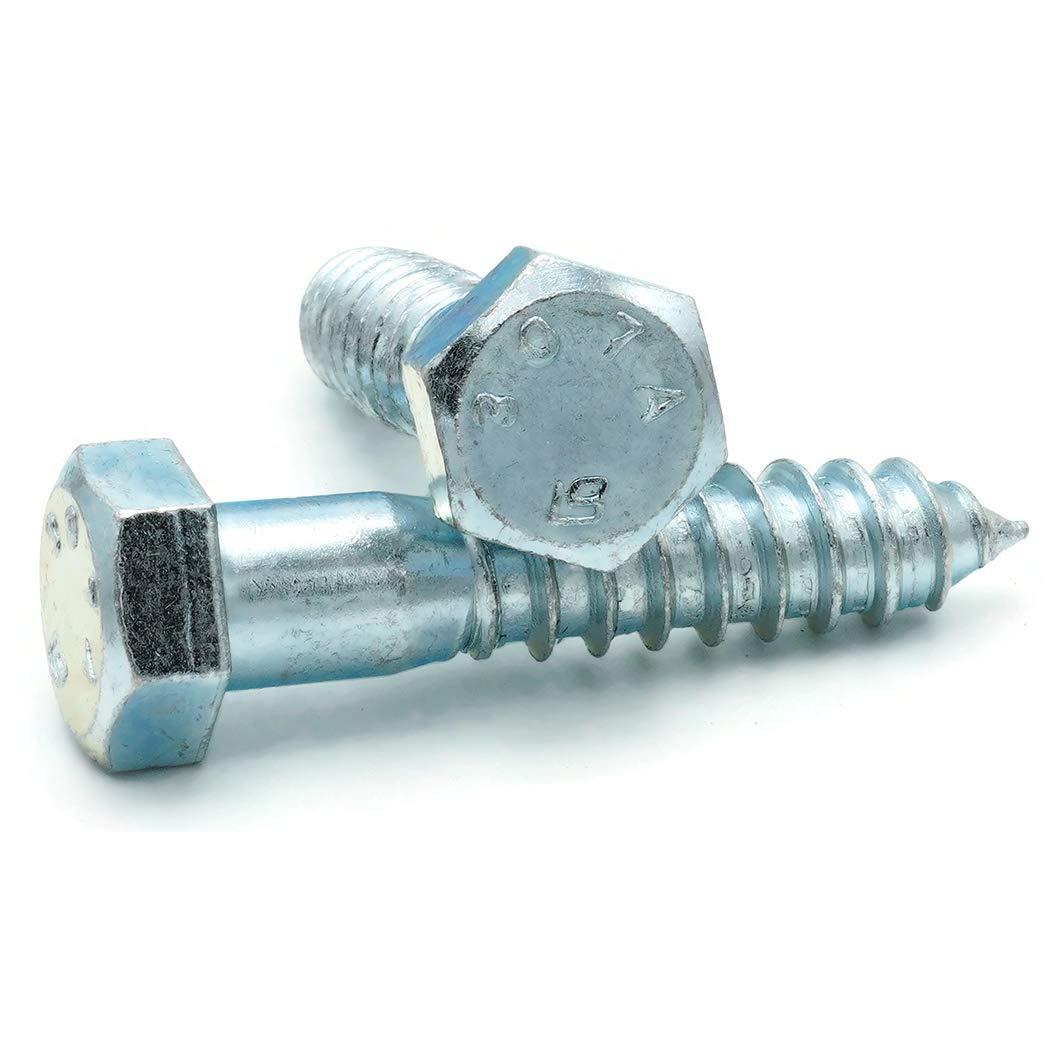 Qty-100 Hex Lag Screws Zinc Plated Steel 5//16-9 x 2-1//2
