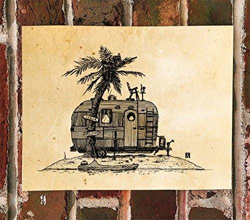 KillerBeeMoto: Print of Pen & Ink Sketch of Vintage Trailer On An Island