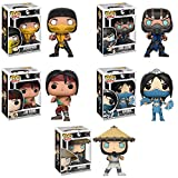 Funko Pop Games Mortal Kombat SubZero, Lui Kang, Kitana, Raiden, Scorpion Vinyl Figures Set