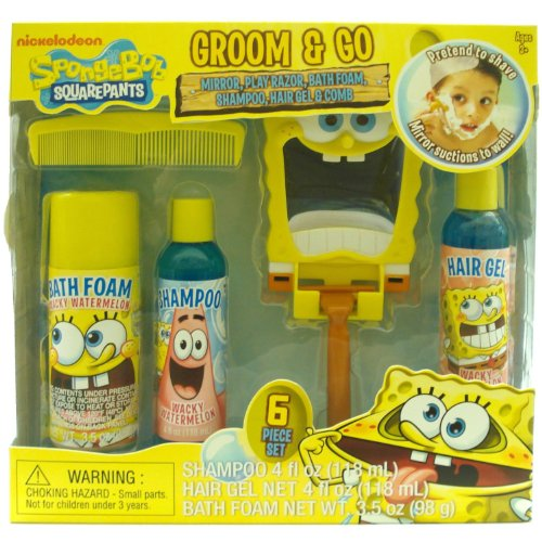 Nickelodeon Spongebob Boys Groom & Go Gift Set - Includes Mirror, Play Razor, Bath Foam, Shampoo, Hair Gel & Comb