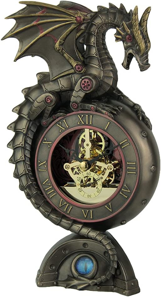 Veronese Design Steampunk Dragon Bronze Finish Table Clock with Moving Clockworks