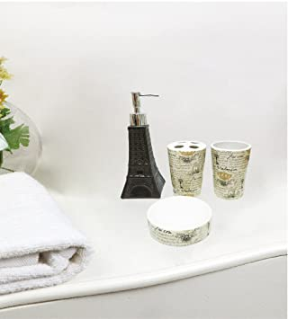 Gentil Royal Bath Novelty Paris Glamour Eiffel Tower 4 Piece Waverly Ceramic Bath  Set: 1 Lotion