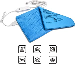"GOQOTOMO Large Electric Heating Pad for Back Pain and Cramps Relief -XL [12""x24""] - Ultra-Soft Heat Pad with Moist & Dry Heat Therapy Options - Auto Shut Off - Hot Heated Pad by-HB003"