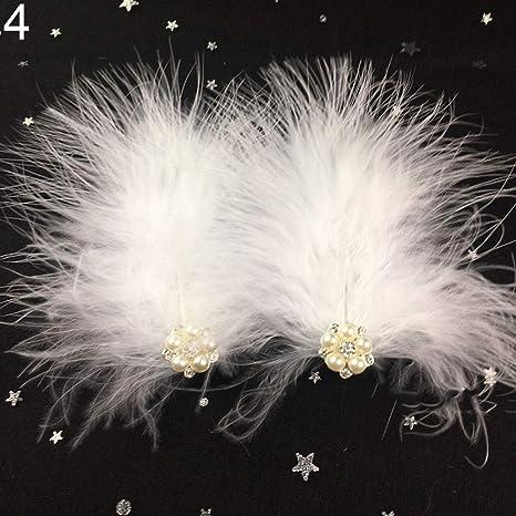 2Pcs Feather Hair Clip Faux Pearl Rhinestone Hairpin Headwear Headdress Healthy