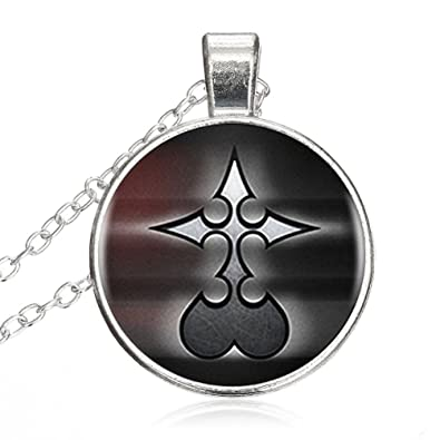 Amazon Kingdom Hearts Nobody Logo Round Pendant Glass Necklace