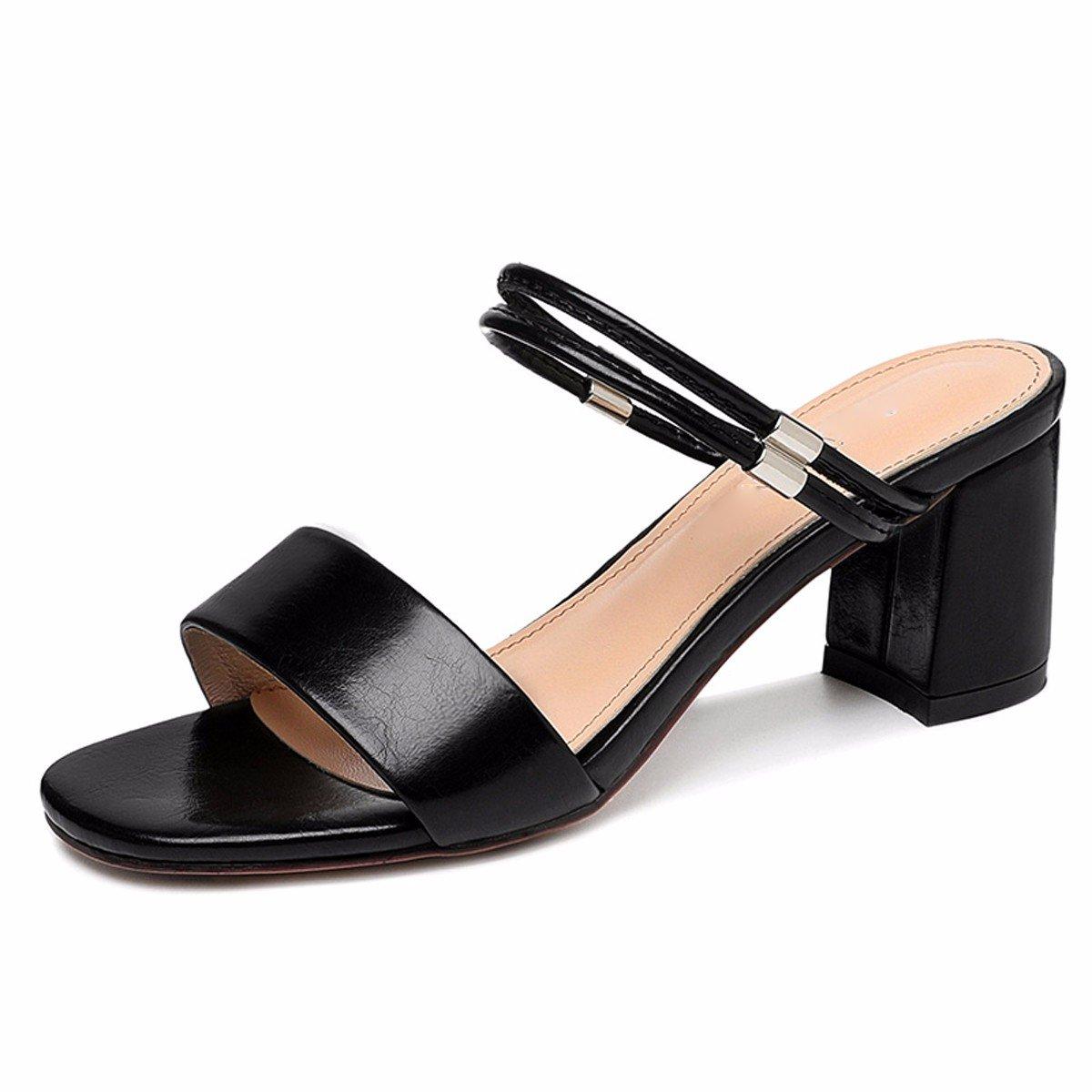 GTVERNH Mujer Zapatos/Un Par De Zapatos Dos Desgaste Sandalias Verano Rough Heels 7Cm Tacones Moda Desgaste Zapatos De Mujer.Treinta Y Ocho Blanco Thirty-eight|white