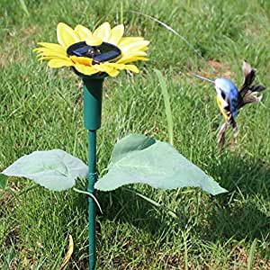 Kungfu Mall artificial Solar Power Sunflower Hummingbird Rotation Fluttering Bird Garden Decoration
