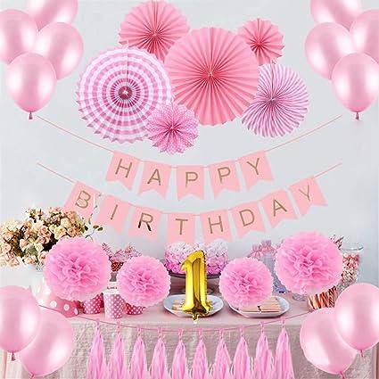 Amazon Com Duobao Pink And Gold Birthday Decorations Girls