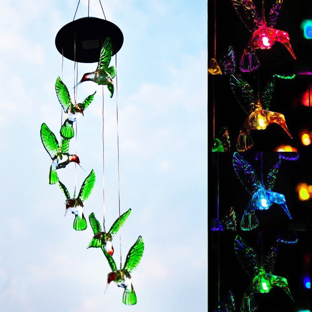 iGrove Lighting Night Gadget Novelty Wind Chimes Colorful Light LED Hanging Style 8 Hours Operate Solar Powered use for Home, Farm, Garden, Party, Apartment, Terrace Decoration etc.