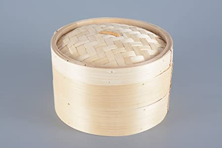 Dampfgarer Ø 25cm inkl Bamboo Steamer Bambusdämpfer Kochlöffelset 4-teilig