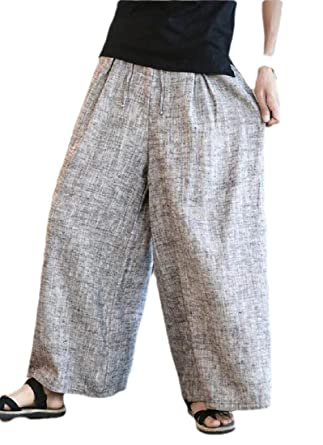 SOWTKSL - Pantalón de chándal para Hombre (algodón y Lino, Pierna ...