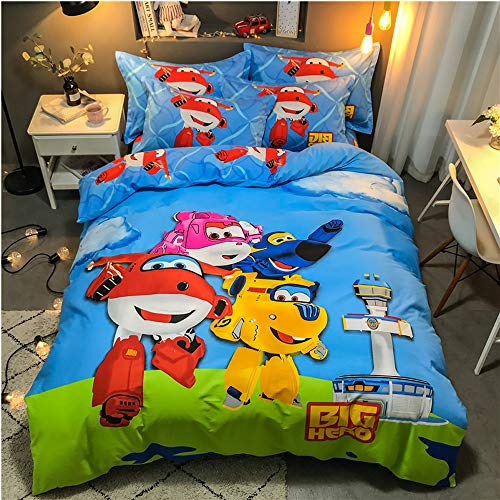 Air 100% Cotton Duvet Cover Set Super Wings Robot Blue Red Yellow Cartoon Style Duvet Cover Set Bedding Including 1 Duvet Cover + 1 Flat Sheet + 2 Pillowcase /4 Piece (G, Twin(173X230) (Robot Duvet Cover Twin)