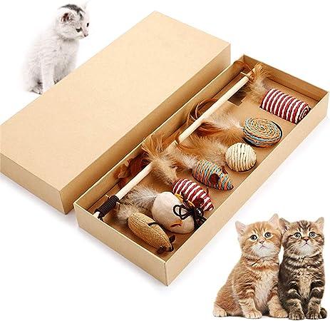 Juguete para gatos, caja de regalo, juguete interactivo para gatos con varita mágica, 7 plumas intercambiables, diversión para gatos, juego de regalo, material de lino natural de madera maciza: Amazon.es: Hogar