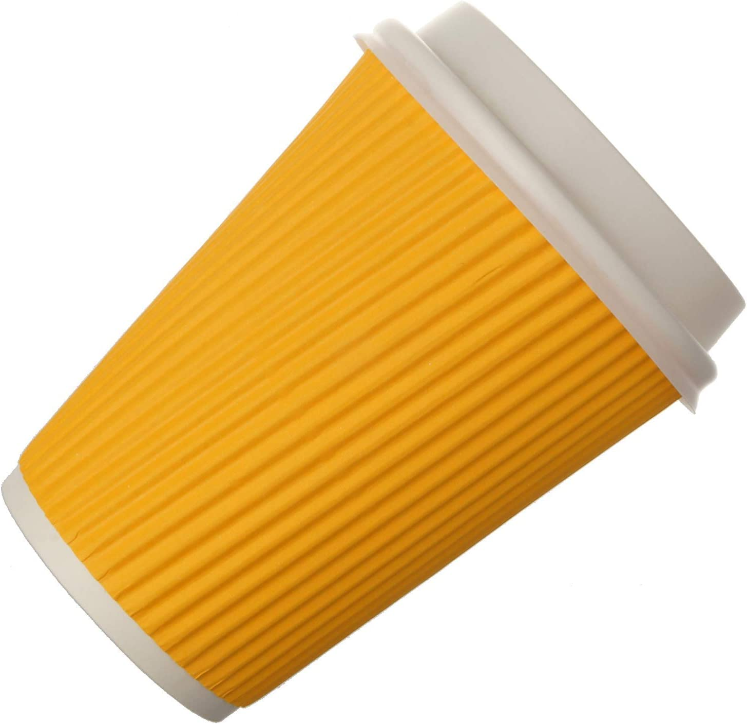 Snapcups Best Disposable Coffee Cups to Go - Premium Hot Paper Cup With Lids 12 Oz(30 count), Yellow - Perfect for Ripple and Insulated Cups - No Soaking or Smells - No Sleeves Needed