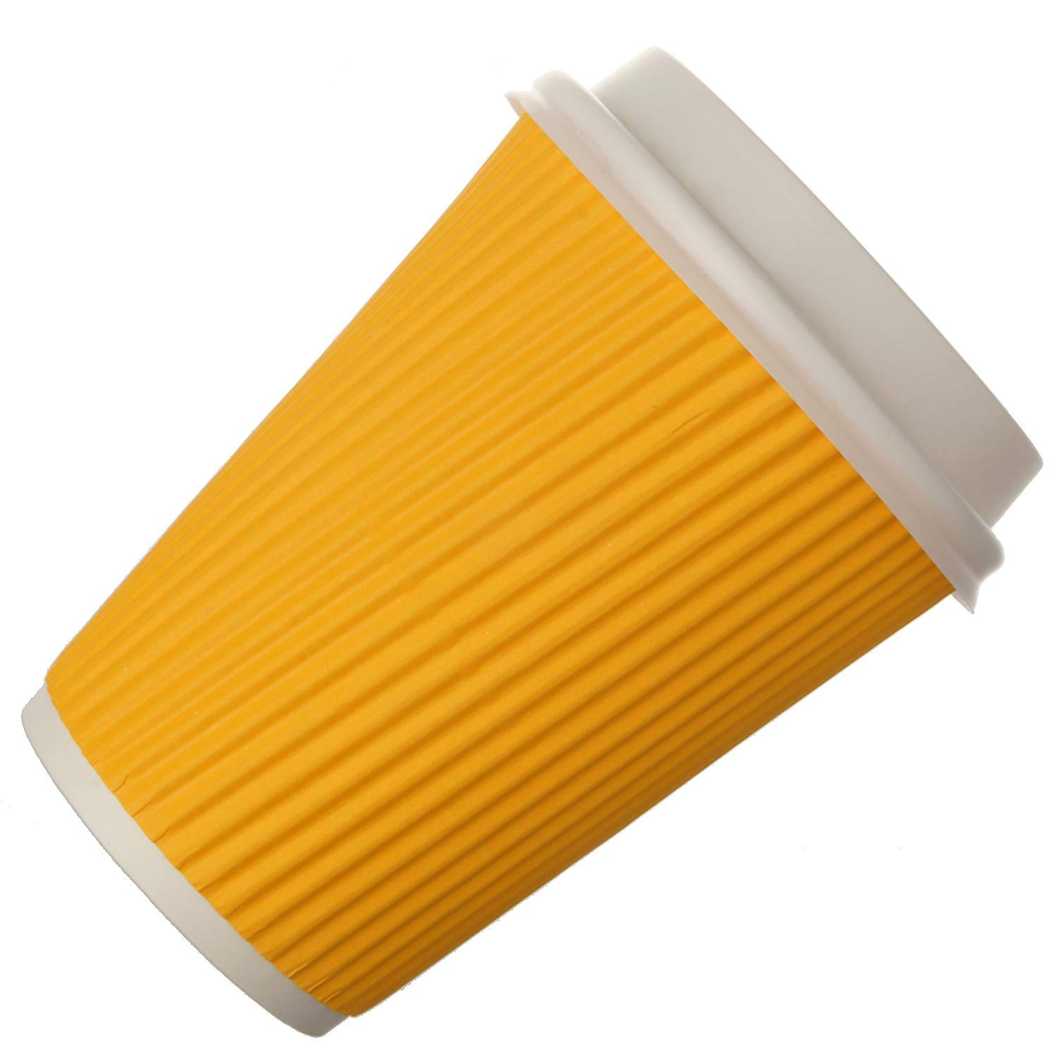 Snapcups Best Disposable Coffee Cups to Go - Premium Hot Paper Cup With Lids 12 Oz(90 count), Yellow - Perfect for Ripple and Insulated Cups - No Soaking or Smells - No Sleeves Needed