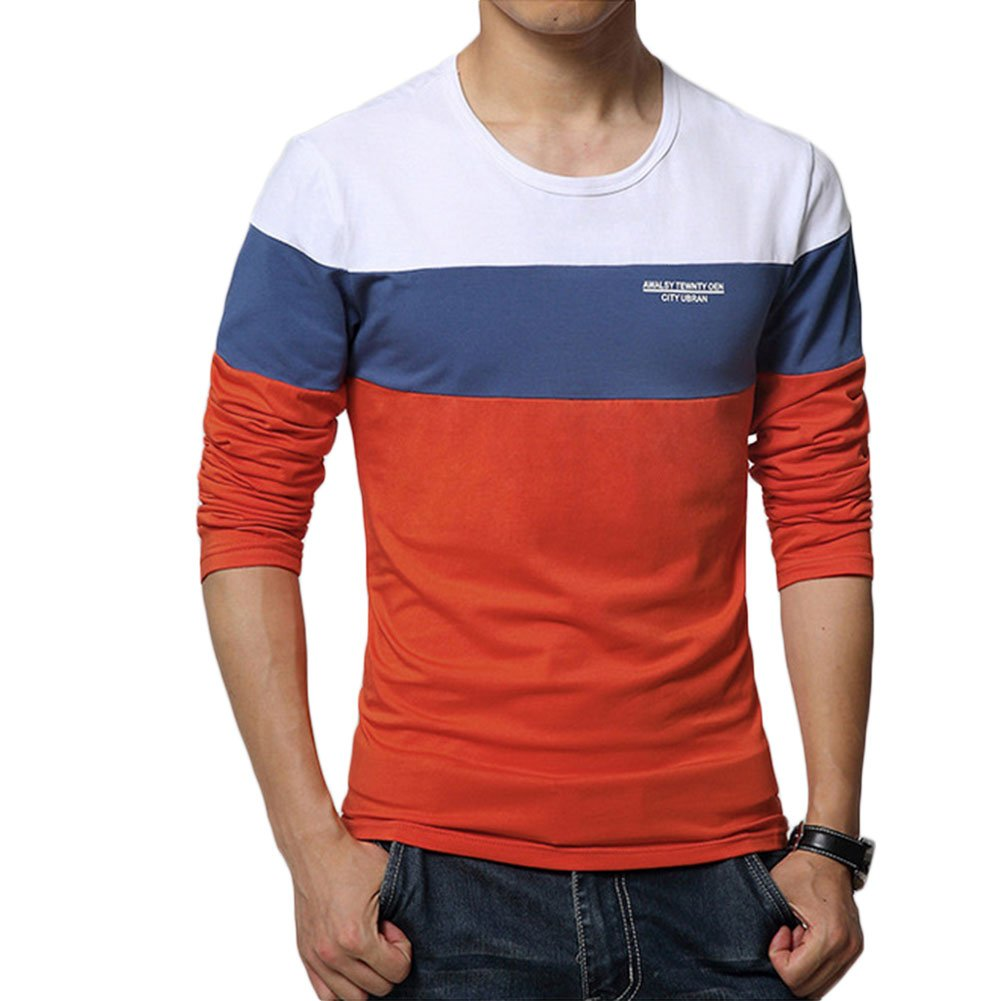 19fb0b455 Amazon.com: 8sanlione Mens Casual Cotton Fitted Short-Sleeve/Long Sleeve  Contrast Color T-Shirt: Clothing